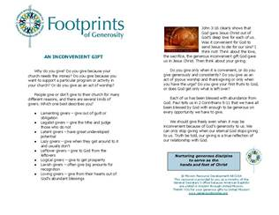 New Footprints of Generosity Resource Available